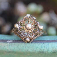 1 Filigree Ring Sterling Silver Lace Vintage