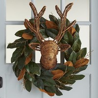 Faux Magnolia & Stag Head Wreath - 22""
