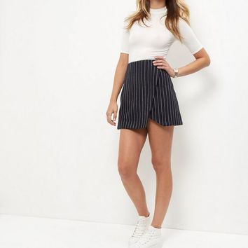 Navy Pinstripe Wrap Front Mini Skirt