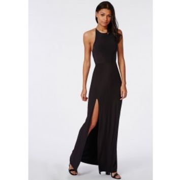 Slinky High Neck Maxi Dress Black - from MISSGUIDED