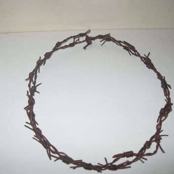 Leather barbed wire necklace.....Antique brown colored.....about 18 inches long......bracelet.....hat band...