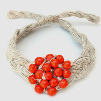 Red Hemp Braided Eco Necklace. Handmade Ethnic Jewelry With Red Beads. Unique Necklaces For Woman By Three Snails. Free Shipping!