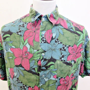 Vintage 90s Shirt DANCE LIKE NOBODYS WATCHING  Floral Crazy Pattern Print XL