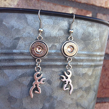 Hunting jewelry. Bullet earrings with browning deer