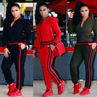 Womens Casual Fashion Autumn Long Sleeved Two-piece Jogger Set Ladies Fall Tracksuit Sweat Suits