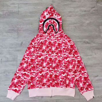 BAPE ABC SHARK Casual Fashion Sport Camouflage Long Sleeve Hooded Sweater Rose G-CN-CFPFGYS
