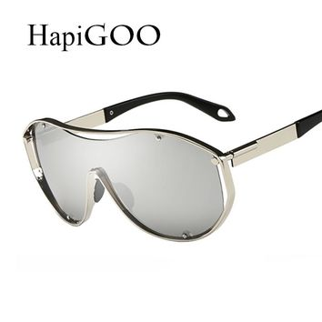 HapiGOO Men Oversize Steampunk Sunglasses Women Fashion Big Frame Integrated Mirror Lenses Sun Glasses Steam Punk Sunglasses