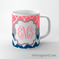 Bright pink coral clovers navy blue chevron custom mug