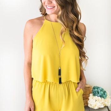 Follow Where She Goes Yellow Romper