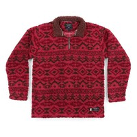 Appalachian Peak Sherpa Pullover in Washed Red and Brown by Southern Marsh - FINAL SALE