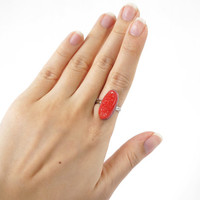 Red Geode Druzy Stone Ring in Long Oval Shape, Bold Red Crystal Adjustable Ring, Beautiful Druzy Jewelry
