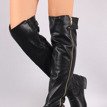 Zipper Side Buckle Accent Flat Over The Knee Boot