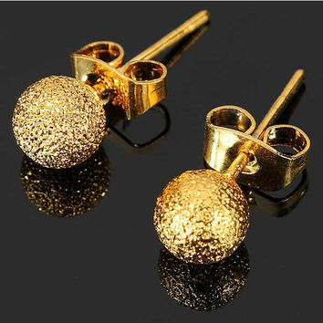 2015 New Fashion Jewelry Charming Earrings 24k Yellow Gold Filled Ladies Elegant matte balls Stud Earrings Unique