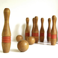 Vintage Wooden Bowling Set Treen Pins and Balls Antique