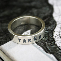 unique mens wedding ring stamped taken chunky sterling promise ring boyfriends girlfriends gift