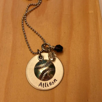 Hand Stamped Baseball Necklace Softball Necklace - Baseball Necklace - Baseball Mom Necklace - Softball Team Gift