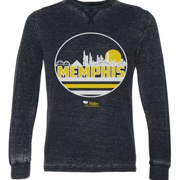 Memphis Skyline in Gold & White Unisex Burnout Thermal