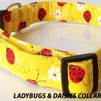 Yellow Collar with Red Lady Bugs and Flowers for Girl Dog and Cat