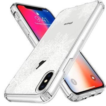 DCCKNY1 LK iPhone X Case, [Shock Absorbing] White Henna Mandala Floral Lace Clear Design Printed Air Hybrid with TPU Bumper Protective Case Cover for Apple iPhone X