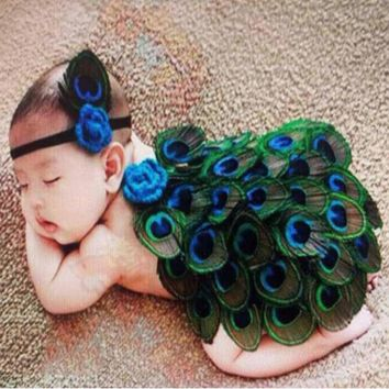 Peacock Style Newborn Photography Props Lovely Animal Feather Design Photo Props with Headband  Costume Outfit