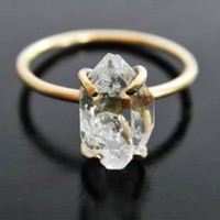 Herkimer Diamond Engagement Ring - Quartz Crystal Ring - Gold Fill Ring - Filled Gold - Raw Quartz Ring - Raw Crystal Ring - Rough Stone