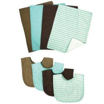 Trend Lab Cocoa Mint 4 Pack Bib and 4 Pack Burp Cloth Set