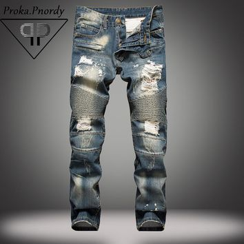 2017 Proka Pnordy Brand Men Distressed Denim Jeans Masculina Casual Slim Jean Men's Destroy Biker Jeans Skinny Ripped Jean Homme