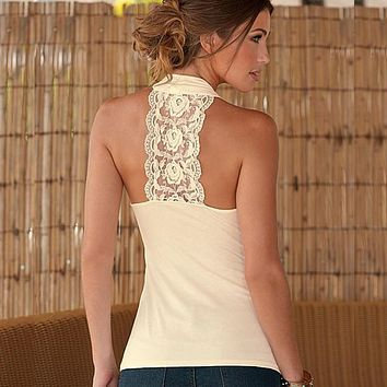 2017 Fashion Summer Women Tops Halter Neck Strapless Tank Tops Sexy Backless Lace Stitching Vest Plus Size Party Club Tops