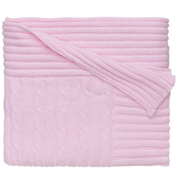 Classic Cotton Cable Knit Blanket (Pastel Pink)