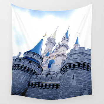 Disney Castle In Color Wall Tapestry by AMarloweCanPrint