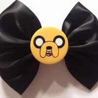 Jake the Dog Adventure Time Hairbow Cute Hair Bow Cartoon Network Black Satin Punk Goth Emo Scene Gothic Hot Topic