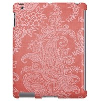 Pastel red paisley floral cloth vintage pattern