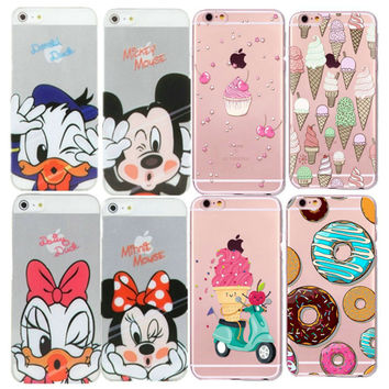 Case Of Ice Cream On Print For Apple iPhone 5 5S 6 6S 7 Cases 3D Luxury Macaron Cartoon Style Transparent Cover Coque