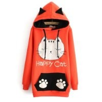 Meilaier Womens Cute Cat Ears Fleece Hoodie Sweatshirt