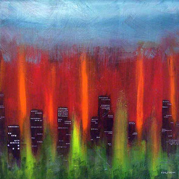 "CUSTOM, made to order, Original Acrylic abstract painting - Towers and Trees - 24"" x 24"""