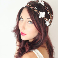 Wedding Flower Crown, Double woven vine, Whimsical Headband, fairy wedding bridal,  white - Isabellea - by DeLoop