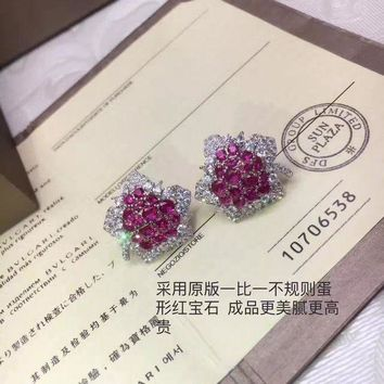 DCCKG2C 2018 New Bvlgari Red gemstone colourful brick and stone high-end fashion jewelry S925 Sterling Silver Earring cartilage hoop   stud drop