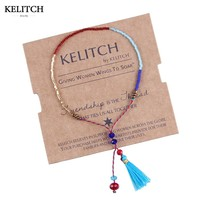 KELITCH 2017 New Statement 1Pcs Tassel Seed Beads Bracelets String Rope Handmade Adjustable Mini Bracelet For Women Girls Bijoux