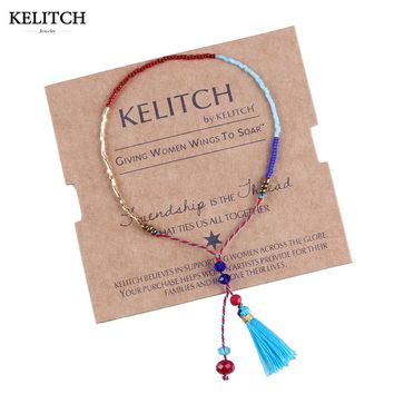 KELITCH 2017 1Pcs Tassel Seed Beads Bracelets String Rope Handmade Adjustable Mini Bracelet For Women