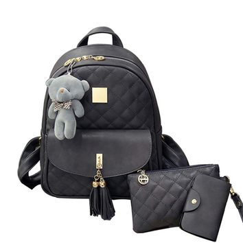 New Arrival 3pcs/set Small Bear Girls School bag PU Tassel Women Backpack Double Zipper Women Bag Vintage Backpack bags