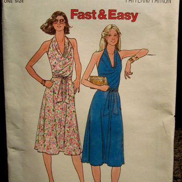 1980s Vintage Sewing Pattern Butterick 6072 Fast and Easy Wrap Dress with Cowl Halter Neckline Size 8-18 Bust 31.5-40 UNCUT