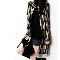 New Wildfox Women Sweater Knitted Cardigans Loose Sweater Leopard Gold Jacket Cardigan Sweater Bronzing Sweater For Women