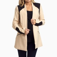 Beige-Black-Structured-Maternity-Blazer