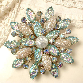 Brooch OR Hair Comb Turquoise Aqua Blue Ivory Baroque Pearl & Rhinestone Flower Bridal Sash Pin Wedding Accessory / Headpiece Rustic Country
