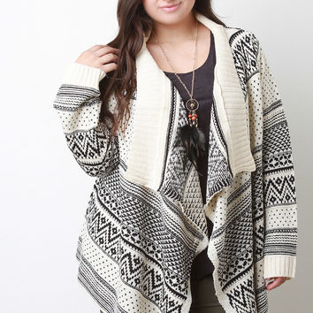 Tribal Pattern Handkerchief Cardigan