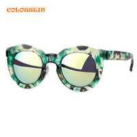 COLOSSEIN Steampunk Sunglasses Polarized Women Sun glasses Round Frame Fashion Eyewear Colorful gafas de sol mujer