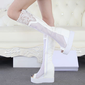 Wedges Chunky Heel Platfprm Lace Black White Summer Women Long Boots Cut Out Knee High Open The Toe Lady Boots 34-39 SXQ0430