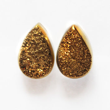 Natural Tear Drop Gold Druzy Stud Earrings