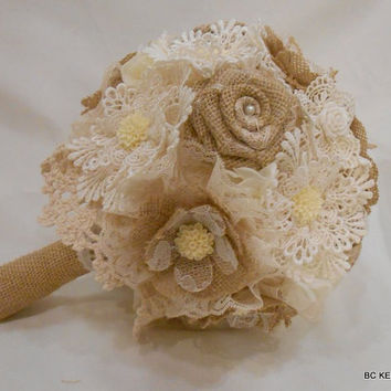 Handmade Shabby Chic Vintage Rustic Burlap Lace Wedding Bouquet