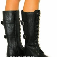 Adjustable Calf* Buckle Riding Boot* Knee High Combat Military Tall Flat Lace Up